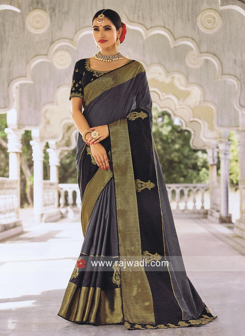 20494b995120da Art Silk Wedding Saree with Blouse. Hover to zoom