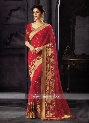 Art Silk Wedding Saree with Tassels