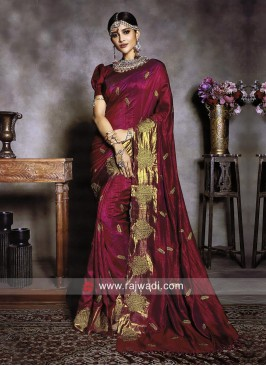 Art Silk Wedding Sari in Dark Magenta