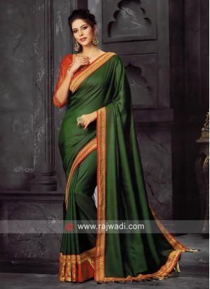 Art Silk Wedding Sari in Green