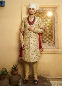 Art Silk Wedding Sherwani For Dulha