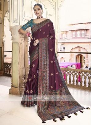 Art silk Wine Color Saree
