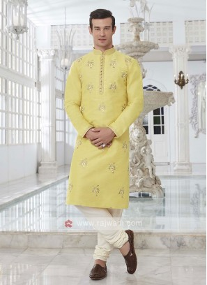 Art Silk Yellow Kurta Pajama
