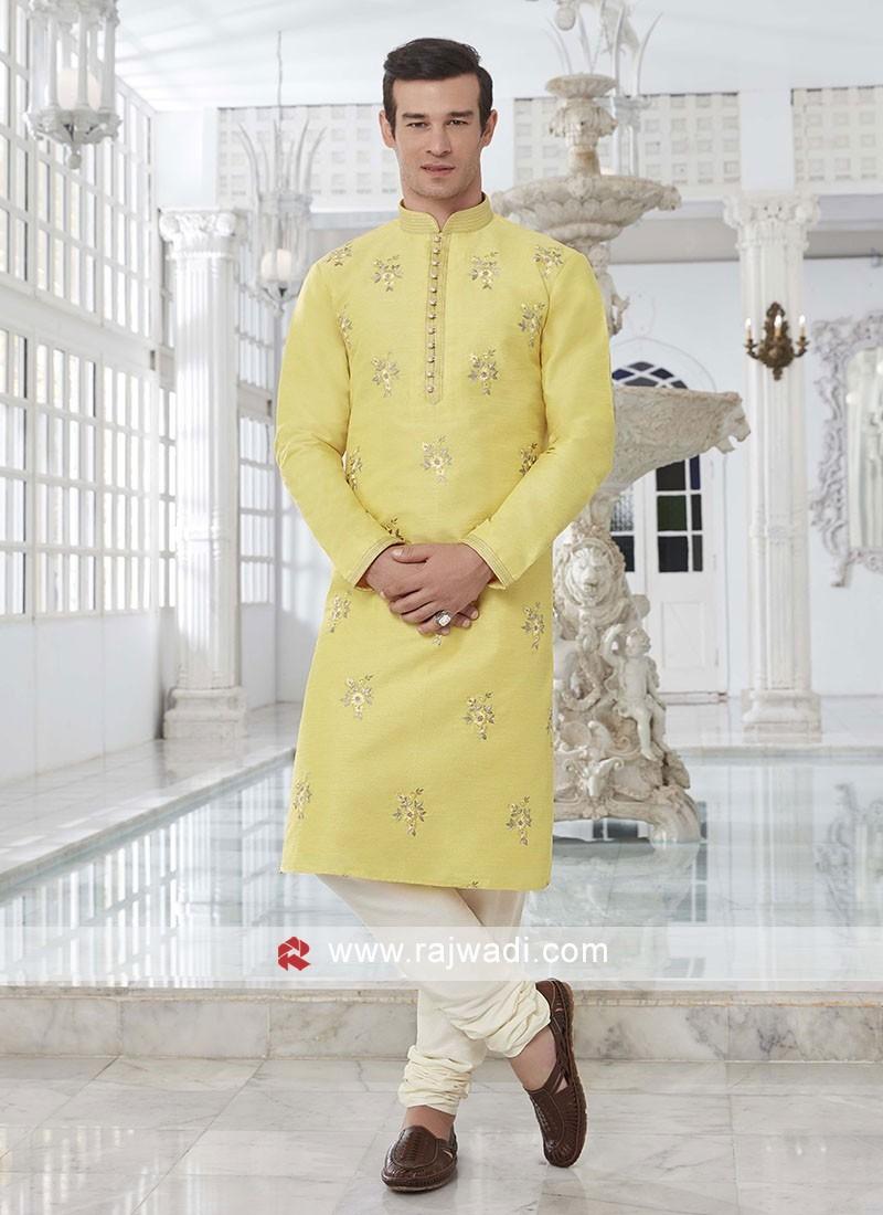 Art Silk Yellow Kurta Pajama
