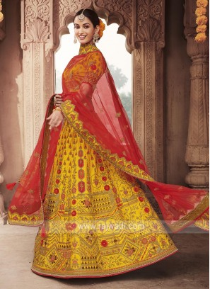 Art Silk Yellow Lehenga Choli