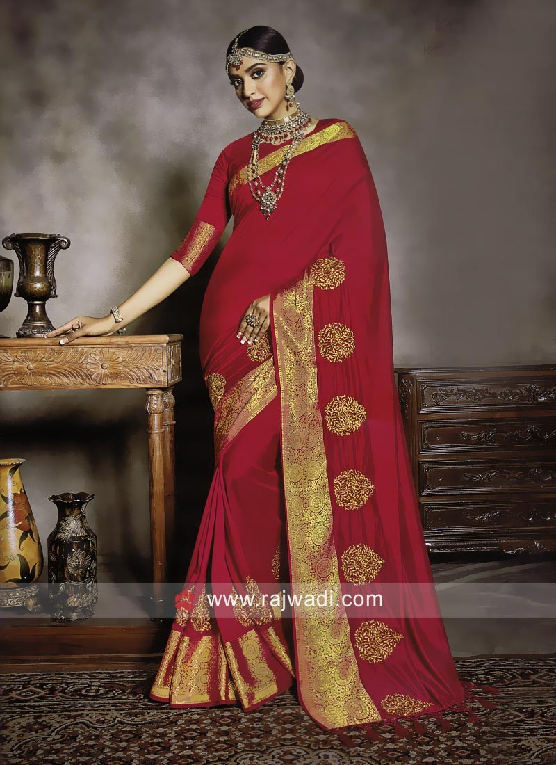 Art Silk Zari Patch Border Saree