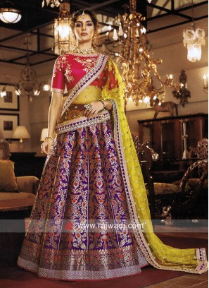 Art Silk Zari Printed Lehenga Choli
