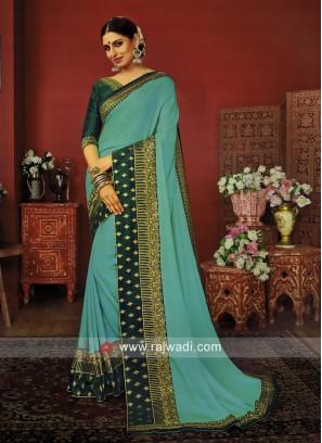 Art Silk Zari Work Saree with Blouse