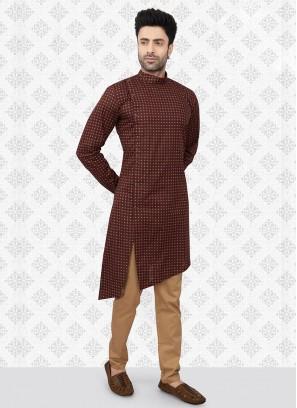 Printed Kurta Pajama In Brown And Golden Color