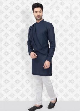 Kurta Pajama In Navy Blue And White