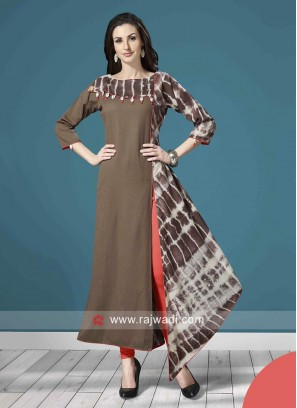 Asymmetric Printed Kurti with Kodi