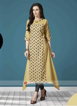 Asymmetrical Cotton Damru Print Kurti