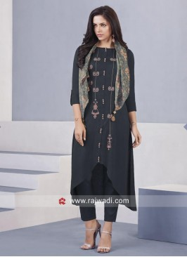 Asymmetrical Dark Grey Salwar Kameez