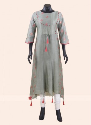 Asymmetrical Dark Sea Green Kurti