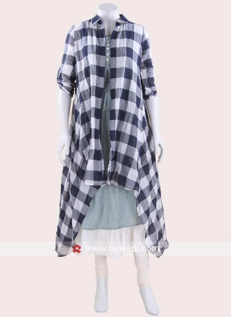 Asymmetrical Indo Western Checks Tunic
