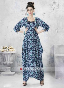Asymmetrical Long Geometric Print Kurti