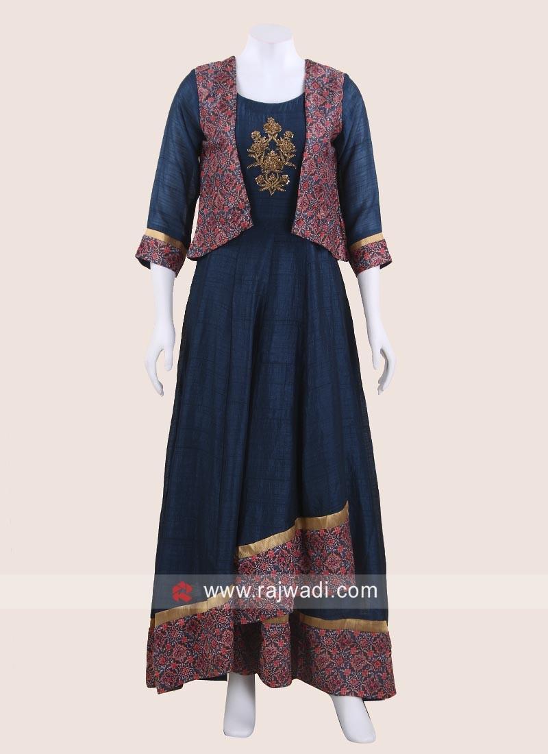 Asymmetrical Style Kurti with Koti