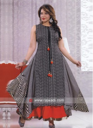 Asymmetrical Traditional Kurti with Latkan