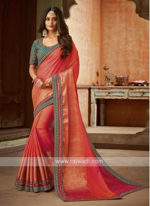 Atrractive Dark Peach Saree