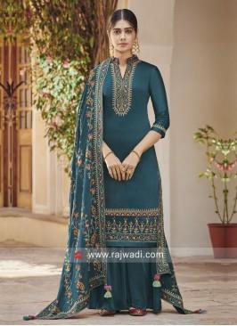 Attractive Art Silk Designer Palazzo Suit