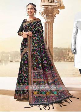 Attractive Banarasi Silk Saree In Black Color
