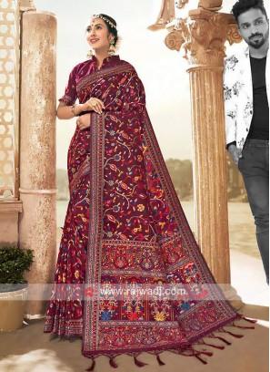 Attractive Banarasi Silk Saree In Red Color
