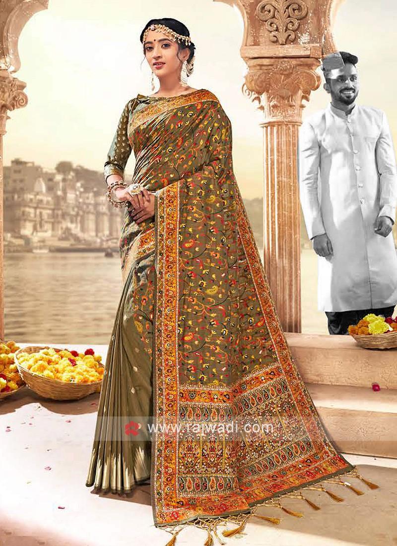 Attractive Beige Weaving Saree