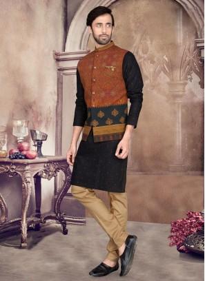 Attractive Black And Golden Nehru Jacket Suit