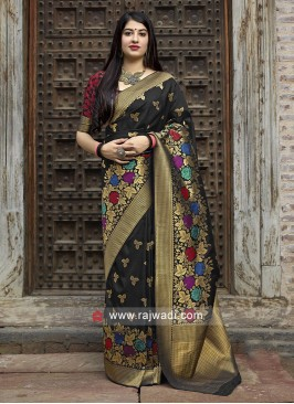 Attractive Black Banarasi Silk Saree