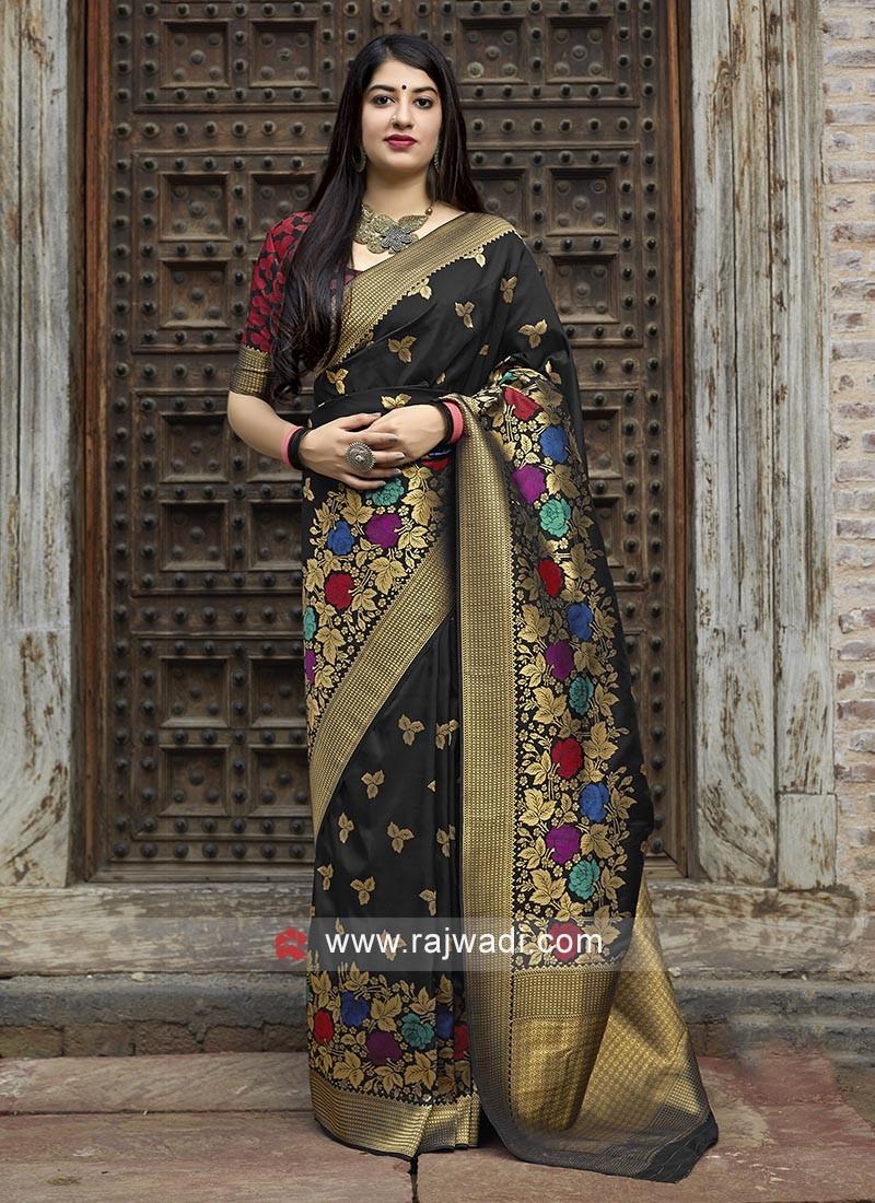 Attractive Black Banarasi Silk Saree