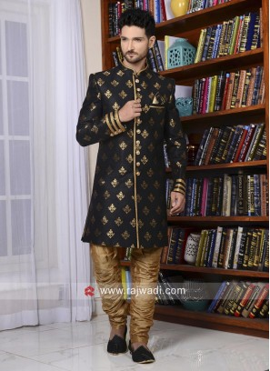 Attractive Black Brocade Silk Indo western