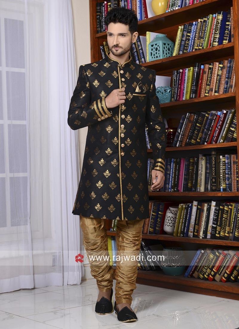 Attractive Black Brocade Silk Indo western
