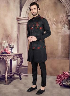 Attractive Black Color Nehru Jacket Suit