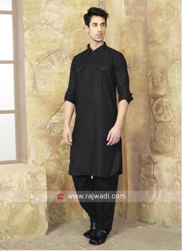 Attractive Black Color Pathani Set