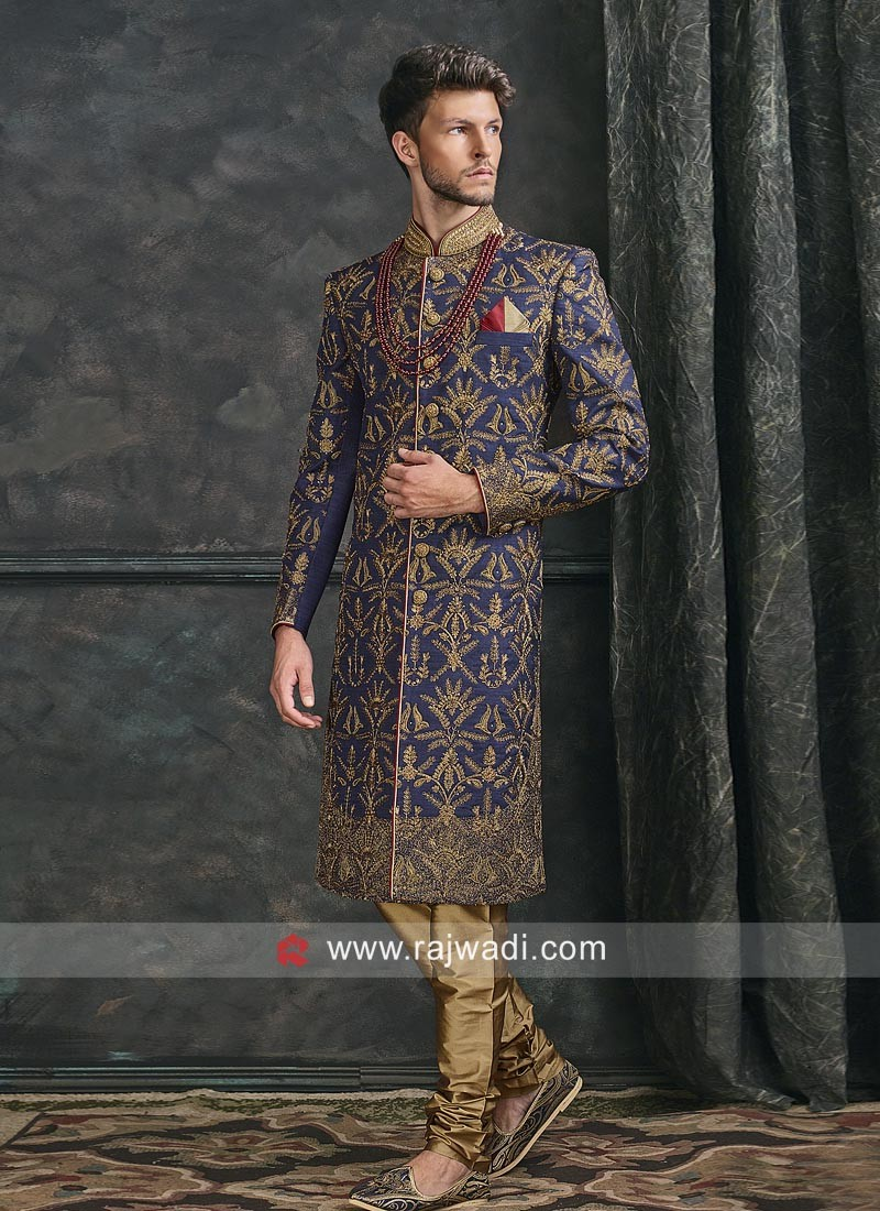 Attractive Blue Color Sherwani For Wedding