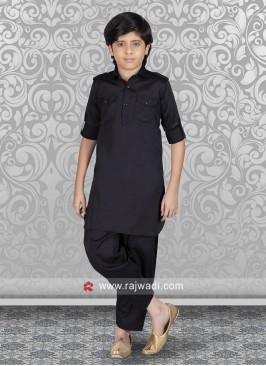 Attractive Black Pathani Suit
