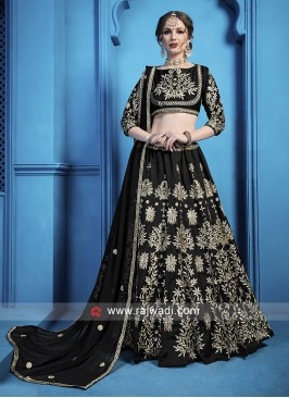 Attractive Black Zari Work Lehenga Choli