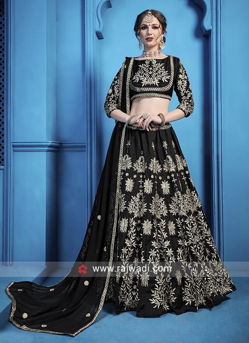 Attractive Black Zari Work Lehenga Choli