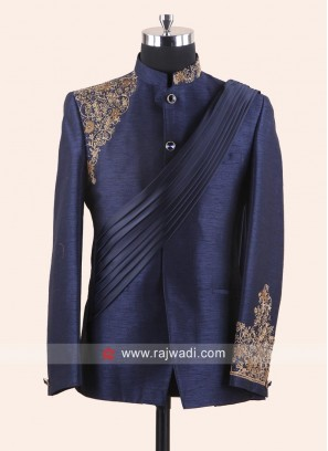 Attractive Blue Color Jodhpuri Set