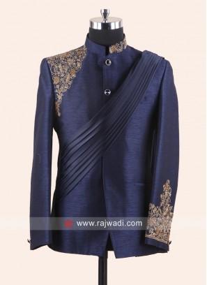 Attractive Blue Color Jodhpuri Set