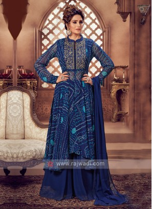 Attractive Blue Color Palazzo Suit