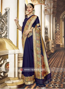 Attractive Blue Saree For Wedding