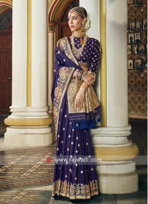 Attractive Blue Weaved Saree