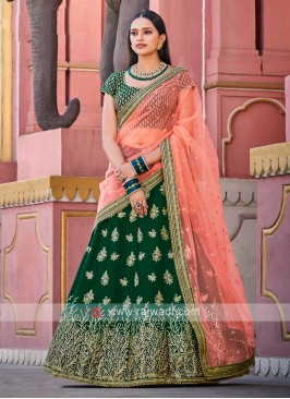 Attractive Bottle Green & Peach Lehenga Choli