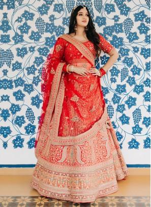 Attractive Bride Lehenga Choli In Red Color