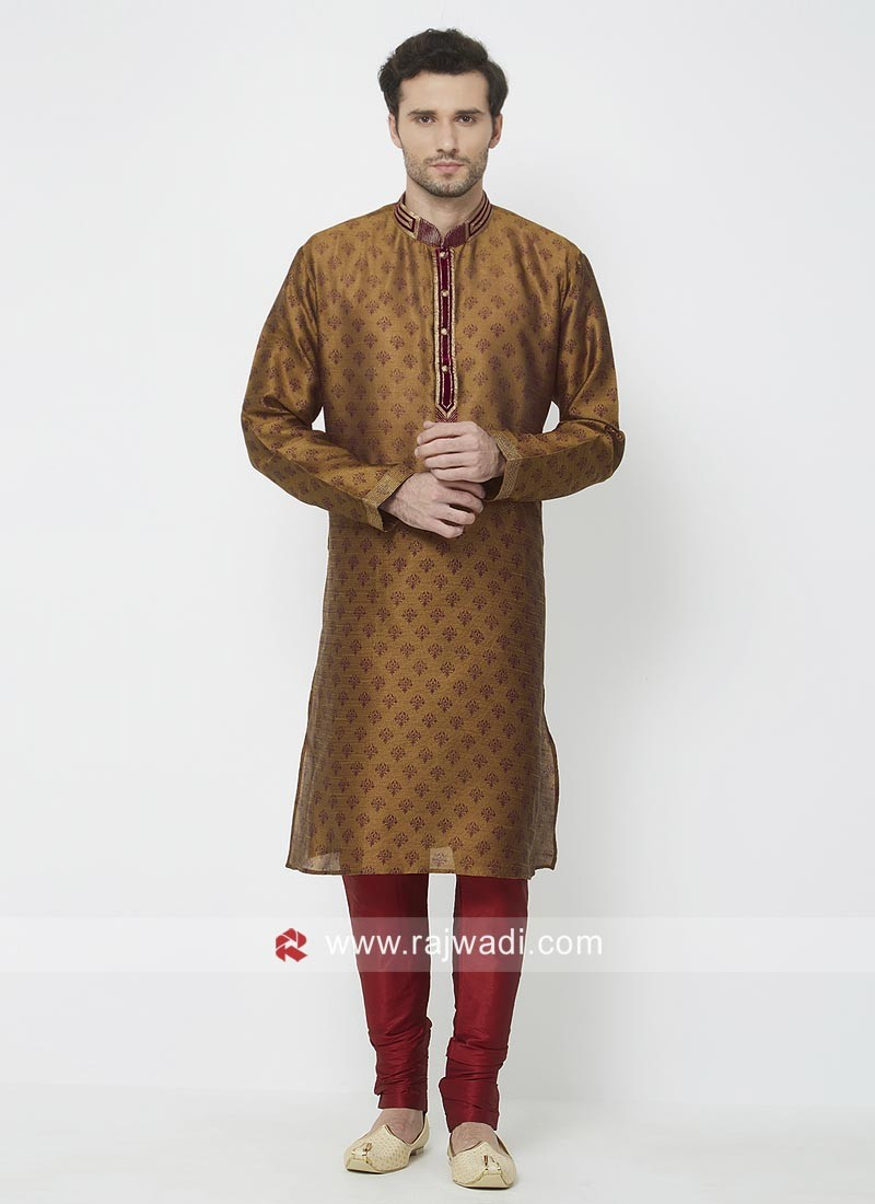 Attractive Brown Color Kurta Pajama