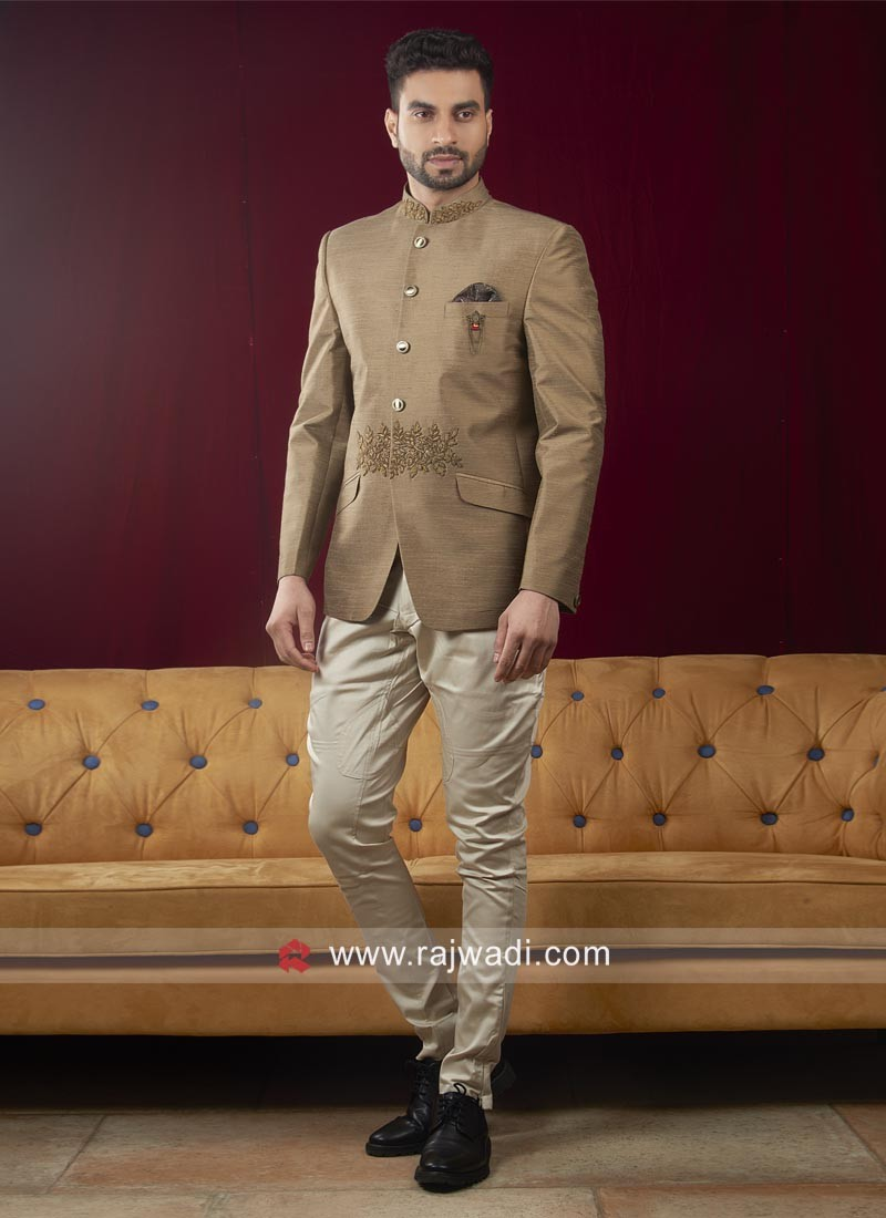 Attractive Brown Jodhpuri Suit