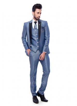 Attractive Carolina Blue Color Suit For Party