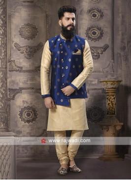 Attractive Cream and Blue Nehru Jacket