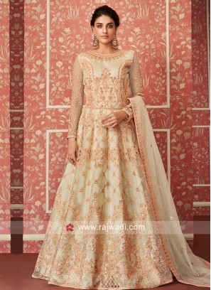Attractive Cream Color Anarkali Suit
